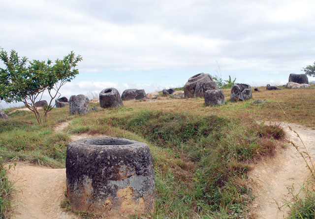 Plain of jars in Xieng Khuang province.