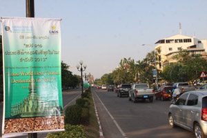 The government has put up banners around Vientiane declaring Laos as the World's Best Tourist Destination for 2013.