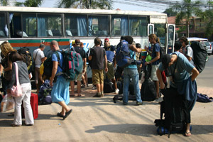 A bus load of tourists arrive in central Vientiane.